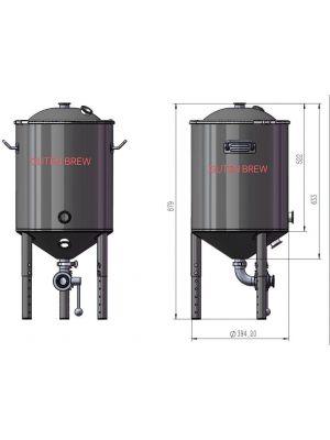 Fermentador Conico Aco Inox 304 - 55l Pressurizavel